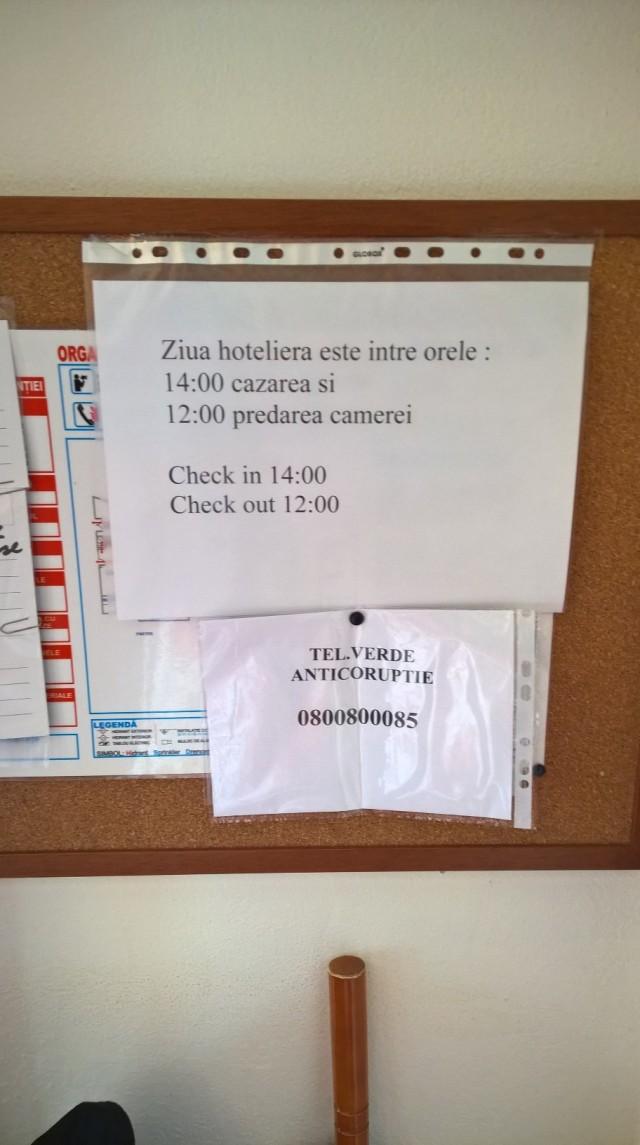 Brasov hotel noticeboard Sept 2015
